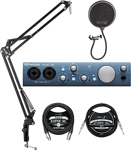 """wholesale PreSonus AudioBox iTwo 2x2 USB/iOS Audio Interface for Windows, iOS Bundle with Studio One Artist, Blucoil Boom Arm Plus Pop online sale Filter, new arrival 10-FT Balanced XLR Cable, and 10' Straight Instrument Cable (1/4"""") outlet sale"""