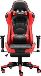 JL Comfurni Gaming Chair Chesterfield Ergonomic Swivel Home Office Nap Chair Computer Desk Chair PU Leather Recliner Sport Racing Chair with Adjustable Lumbar and Foootrest … (White&Red)