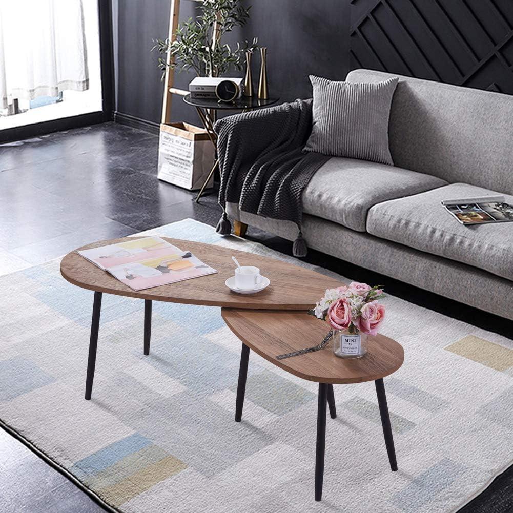 GOLDFAN Table Gigognes Lot de 2 Tables Basses Moderne Bois Table dappoint Petite Table Carr/é Bout de Canap/é Scandinavespour Salon
