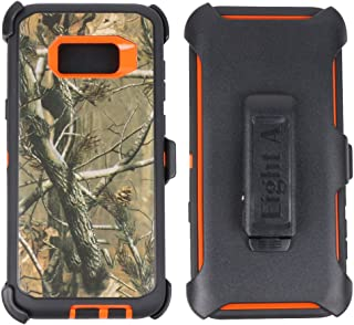 Samsung Galaxy S8 Case-Heavy Duty Full Body Protective Rugged Holster w/ Belt Clip,Shock Resistant Case Cover for Regular Galaxy S8 (Orange-Tree-Camo)