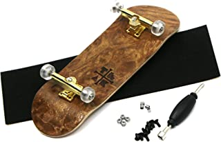 Teak Tuning Prolific Complete Fingerboard with Upgraded Components - Pro Board Shape and Size, Bearing Wheels, Trucks, and Locknuts - 32mm x 97mm Handmade Wooden Board - Cloud Nine Engraved Edition