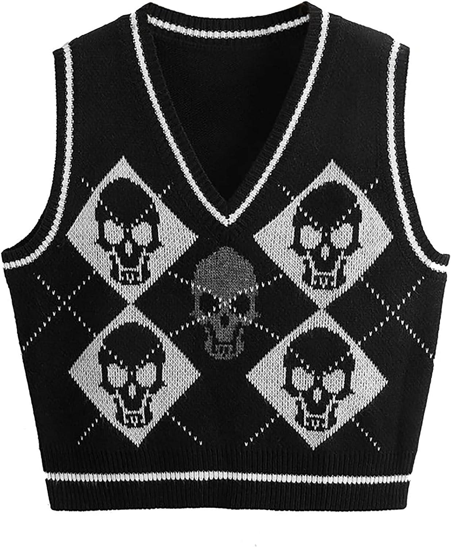 Meladyan Women Y2K Skull Graphic V Neck Knitted Sweater Vest Sleeveless Argyle Print Harajuku 90s E-Girls Knitwear Tank Tops