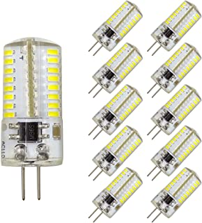 Pack 10,Mini G4 LED Bulb Dimmable 110V 120V 2.6W 280 Lumens 64pcs Silicone Lamp Equivalent to 20W Halogen Bulb Replacement (White 6000K)