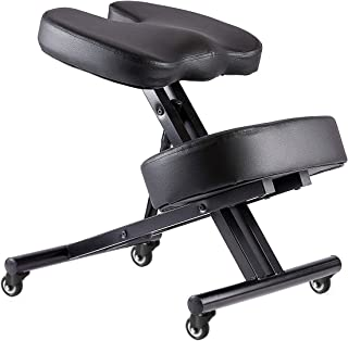 New Wheels Kneeling Chair with Orthopedic Back Pain Seat, Faux Leather - Manual Adjust, Helps Prevent Coccyx Pain, Kneeling Chair for Better Posture.
