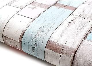 ROSEROSA Peel and Stick PVC Reclaimed Wood Decorative Instant Self-Adhesive Covering Countertop Backsplash Pastel (22517 : 1.64 Feet X 9.84 Feet)