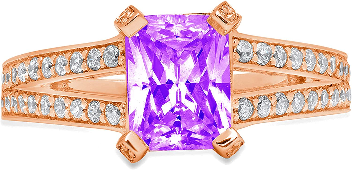2.64ct Emerald Cut Solitaire with Accent split shank Natural Purple Amethyst Gem Stone Ideal VVS1 Engagement Promise Statement Anniversary Bridal Wedding ring Solid 14k Pink Rose Gold