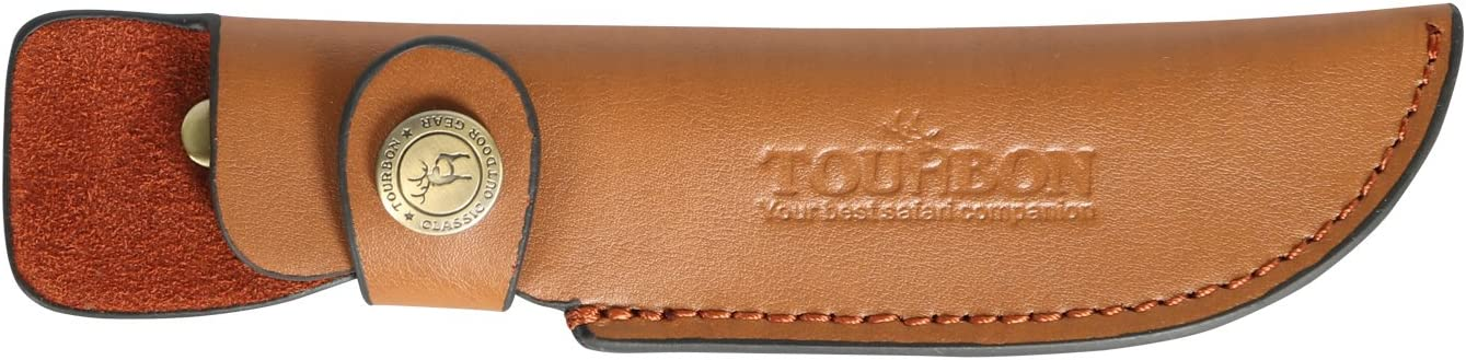 TOURBON Brown Cheap mail Max 54% OFF order specialty store Leather Fixed Blade Snap Knife Sheath with Closure