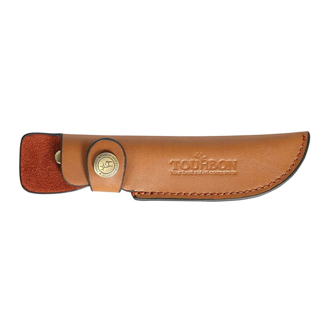 TOURBON Brown Leather Fixed Blade Knife Sheath with Snap Closure