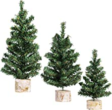 Winlyn 3 Pack Mini Canadian Pine Trees with Wood Bases Artificial Miniature Christmas Trees for Holiday Season Tabletop Decoration Centerpiece Displays Xmas Gift Green Assorted Sizes 7.5