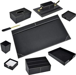 FIS 9 Pieces Executive Desk Set Italian PU, Black Color - FSDS172BK