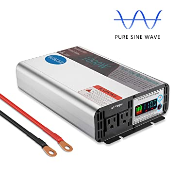 GISIAN 1000W Pure Sine Wave Power Inverter Peak Power 2000W 12V DC to 110V AC Car Power Inverter with LCD Display 2 AC Outlets for RV Truck Boat