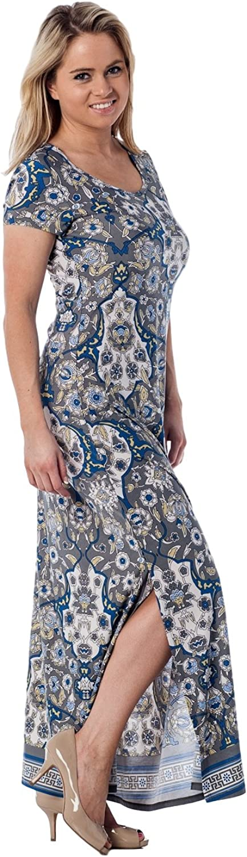 Alki'i Women's Short Sleeve Floor Length Maxi Dress
