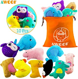 AWOOF Puppy Toys, 10 Pack Cute Puppy Plush Chew Squeaky Dog Toys for Boredom, Puppy Teething Toys for Medium to Small Dogs