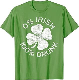 0% Irish 100% Drunk T-Shirt Vintage Saint Patrick Day Gift