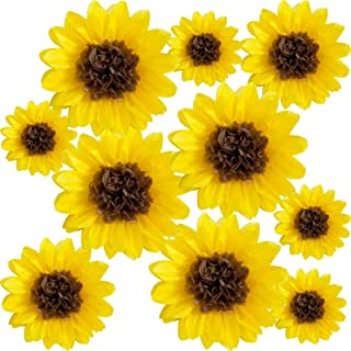 """ANSOMO Sunflower Tissue Paper Pom Poms Décor Yellow Flowers Party Decorations 12"""" 8"""" Pack of 10"""