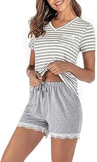 FLYCHEN Tuta da Casa Estiva per Donna Set Pigiami Due Pezzi da Notte T-Shirt Tops Pantaloncini Tutina Senza Maniche Sportiva Spiaggia