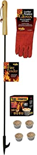 EXCURSIONS Journey To Health Fire Pit Poker Set - Fireplace Poker, Gloves and Firestarter Tool Gift Set