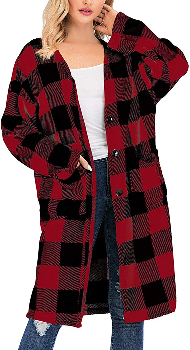 Hooever Womens Casual Mid Long Button Colorblock Charlotte Mall Plaid V-Neck Ca Brand new
