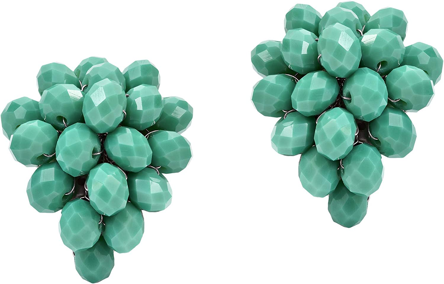 Trendy Green Colored Crystal Clustered Grape Clip On Earrings