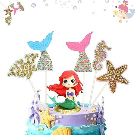 Decoración de pastel de sirena 6 Piezas cake topper de sirena topper Torta de Sirena Decoración para Fiesta en el Mar, Fiesta de Cumpleaños, Baby Shower y Fiesta de Bodas