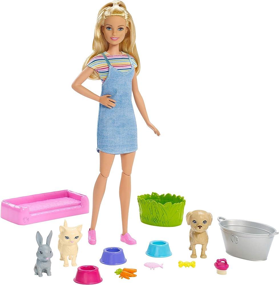 Barbie, cuccioli cambia colore, playset con bambola e due cuccioli che cambiano colore con l`acqua FXH11