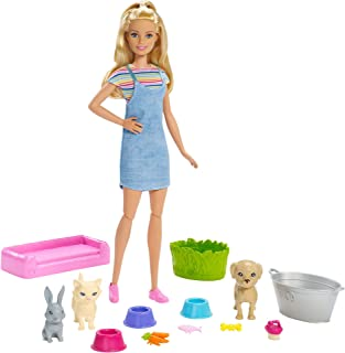 Barbie Play 'n' Wash Pets Playset with Blonde Barbie Doll, 3 Color-Change Animals a Puppy, Kitten and Bunny and 10 Pet and...