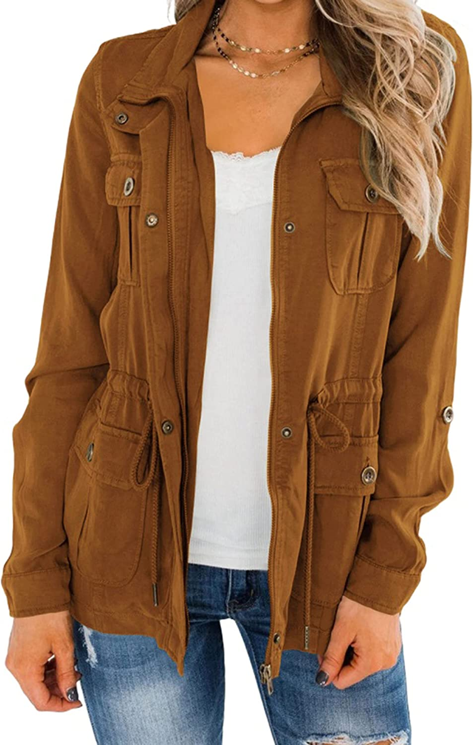 UANEO Womens Military Jacket Zip Up Button Down Safari Utility Coat Outerwear with Pockets