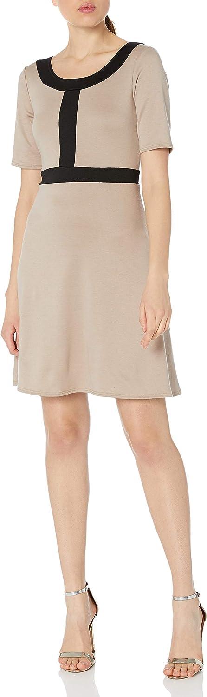 Star Vixen Women's Petite Short Sleeve Solid Strech Ponte Fit-n-Flare Dress with Black Colorblock Outline