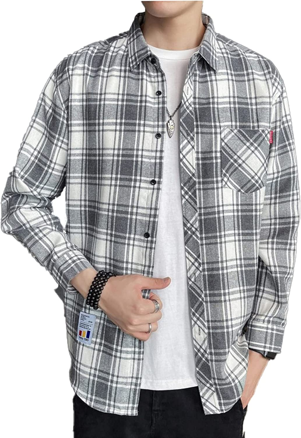 New Men's Long-Sleeved Shirts Button Closures Men's Plaid Striped Oxford Casual Shirts