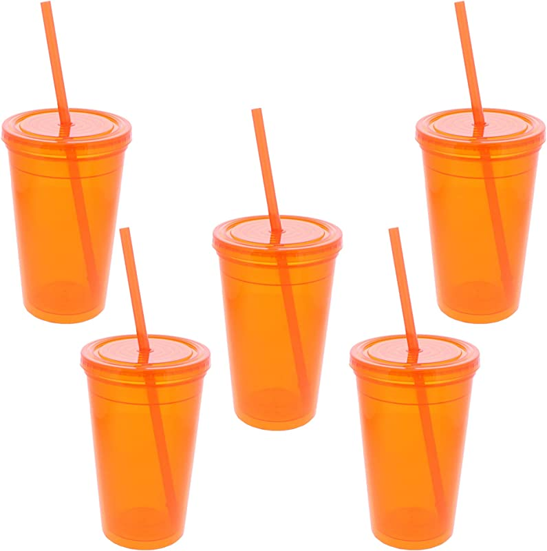18 Oz Soft Plastic Double Walled Orange Tumbler With Screw On Lid And Straw Set Of 5 Orange