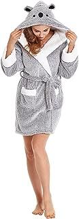 Firecos Plush Robes for Women Animal Hooded Robe Womens Soft Warm Short Fleece Bathrobe Winter Robe