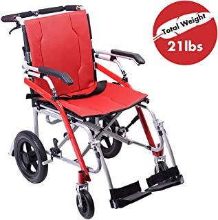 Hi-Fortune 21 lbs Lightweight Transport Medical Wheelchair with Adjustable Armrests and Hand Brakes, Portable and Folding with Magnesium Alloy, 18