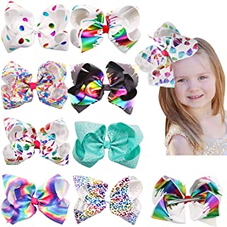 DED 8 Pcs Big Large Hair Bows 8 Inch Rainbow Sparking Colorful Grosgrain Ribbon Alligator Clips for Baby Girls Teens Kids