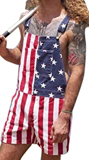 GenericBrands Men's American Flag Jumpsuit-American Independence Day Print Fashion Denim Short Overalls Dungarees