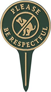 """Whitehall Products 10597 Please Be Respectful Courtesy Lawn Stake no Poop Dog Sign, 9.5"""" x 5.25"""" x 0.25"""" Green/Gold"""