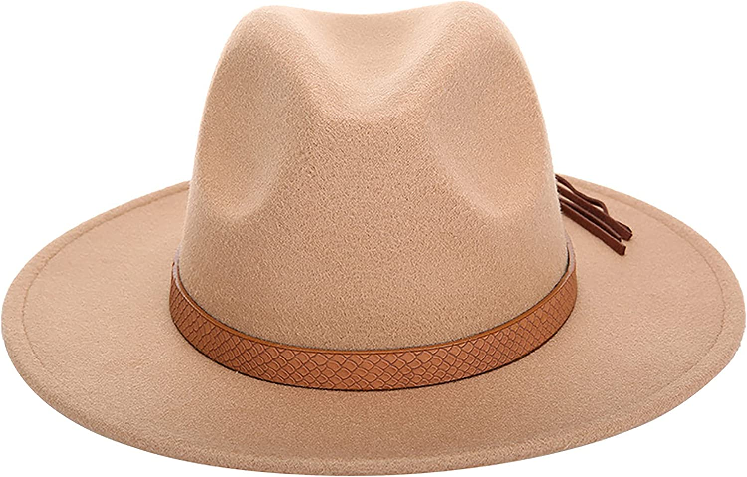 Womens Classic Solid-Color Nashville-Davidson Mall Ranking TOP13 Pan Wide-Brim Belt-Buckle-Fedoras-Hat