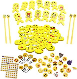 148PCS Party Favors and Giveaway for Emoji, Novel Erasers Assorted Gift-Set for Goodies Bag Fillers for Kids Birthday, Perfect Emoticon Party-Gift School Classroom Prizes Rewards for Girls and Boys