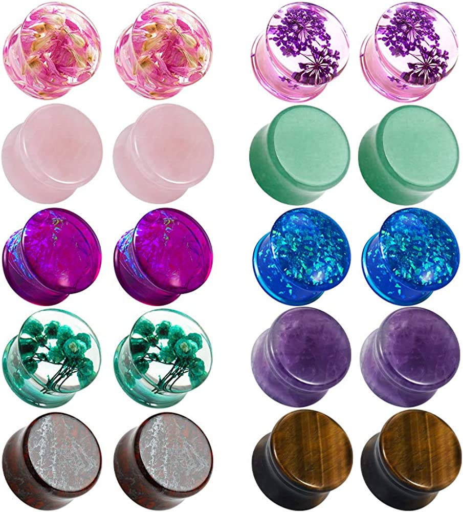 TBOSEN Set Of 10 Pairs Mixed Stone Ear Plugs Ear Gauges Ear Tunnels Double Flare Plugs Expander Body Piercing Jewelry 0g-5/8