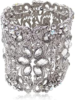Bridal Silver-Tone Teardrop Flower Clear Austrian Crystal Wide Bracelet