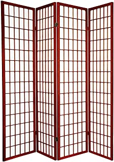 Legacy Decor 4-Panel Folding Shoji Screen Room Divider, Cherry Finish