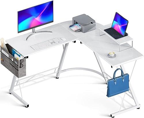 "wholesale Casaottima L Shaped Desk, outlet sale 51"" Gaming Desk, Computer Desk, L popular Desk, Home Office Desk with Iron Hook, Movable Monitor Stand Workstation, White+White Legs online sale"