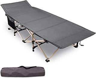 Varbucamp Folding Camping Cots for Adults, Updated Sturdy Steel Heavy Duty Sleeping Cots for Heavy People 500 Pounds,with ...