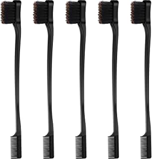 5 Pieces Hair Edge Brush Double Sided Control Hair Brush Comb Combo Pack Smooth Comb Grooming (Black)