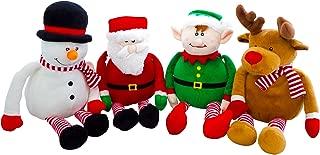 Christmas Plush Set - Holiday Elf, Reindeer, Snowman and Santa Stuffed Animals (Set of 4)