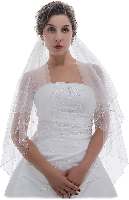 SAMKY 2T 2 Tier Bugle Crystals Beaded Bridal Wedding Veil