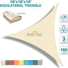 Patio Paradise 16' x16'x 16' Beige Sun Shade Sail Triangle Canopy - Permeable UV Block Fabric Durable Outdoor  - Customized Available