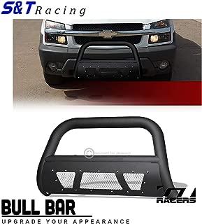 S&T Racing Matte Black Bull Bar HD Steel Brush Bumper Guard Studded Mesh 1999-2007 Chevy Silverado/Avalanche 1500