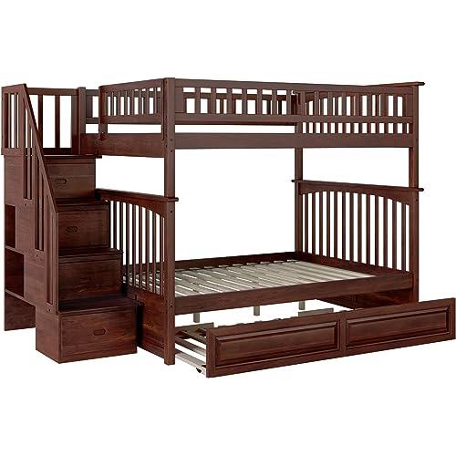 Amazon Com Atlantic Furniture Columbia Staircase Bunk Twin Size Raised Panel Trundle Bed Walnut Furniture Decor