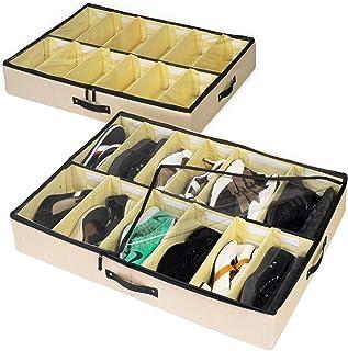 storageLAB Under Bed Shoe Storage Organizer, Adjustable Dividers - Underbed Storage Solution, Straw, 2-Pack Straw