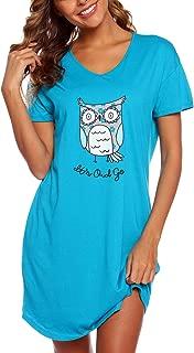ENJOYNIGHT Womens Cotton Sleepwear Short Sleeves Print Sleepshirt Sleep Tee